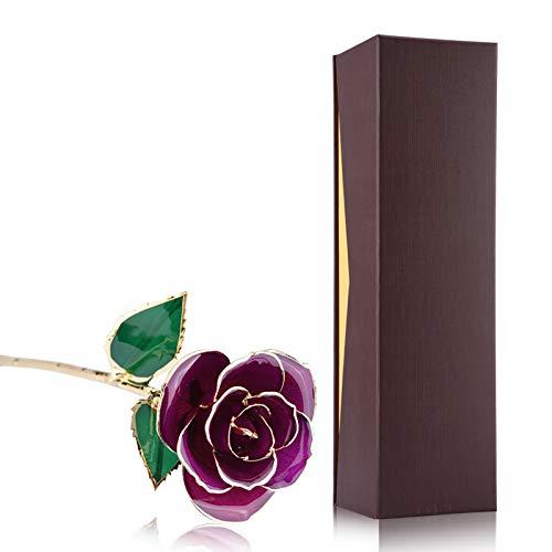Uxsiya 24 K vergoldete rote Rose, romantische künstliche echte Rose Gold Rose für Frauen 24 K Gold getauchte Rose (lila Rose mit Ständer)