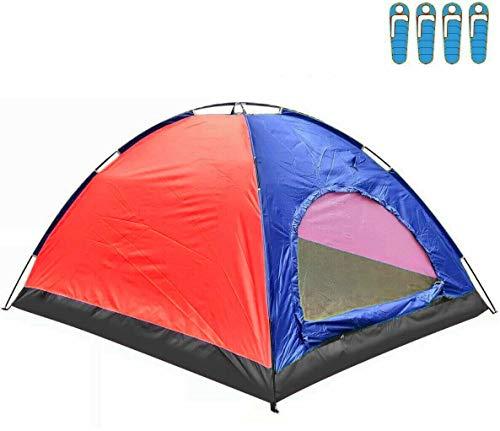hyu Tienda de Campaña para 4 Personas Impermeable Acampar Camping Carpa Tipo IGLU Azul-Rojo