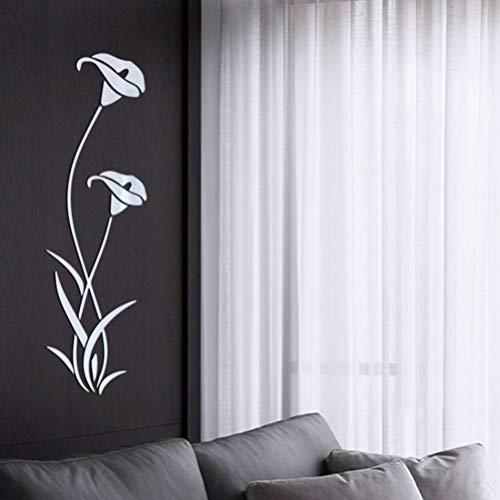 Vosarea 1pc Adesivo da parete 3D Adesivi da parete rimovibili a specchio a buccia e stick Adesivi murali per soggiorno Bagno Argento