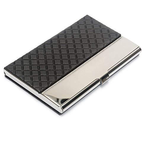 Bolsillo de la tarjeta de visita de cuero de acero inoxidable en relieve tarjeta de crédito titulares de la tarjeta de negocios organizador de la tarjeta con franela forrado (Negro)