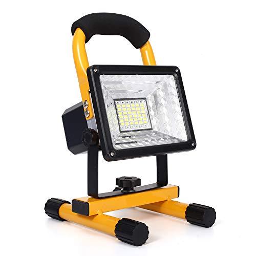 30W LED Baustrahler Akku, 48LED tragbares Flutlicht mit abnehmbarem Standfuß, IP65 Wasserdicht Scheinwerfer, 6000K Tageslichtweiß Strahler für Camping, Fischen, Forschungsreise, Autoreparatur