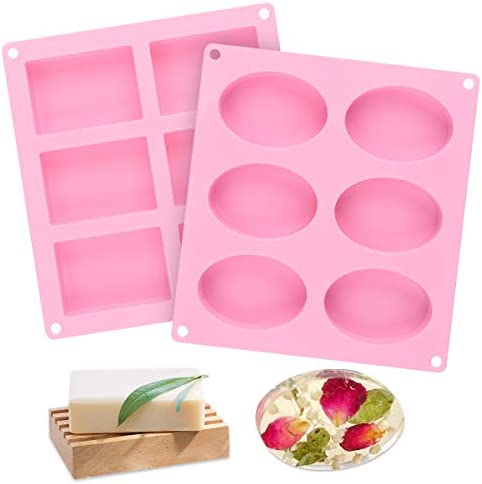 2 Pcs SJ Silicone Soap Molds Rectangle Oval 6 Cavity Silicone Molds for Pudding Muffin Loaf product image