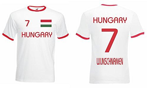 Ungarn Retro Trikot mit Wunschname und Wunschnummer EM 2016|weiss-S