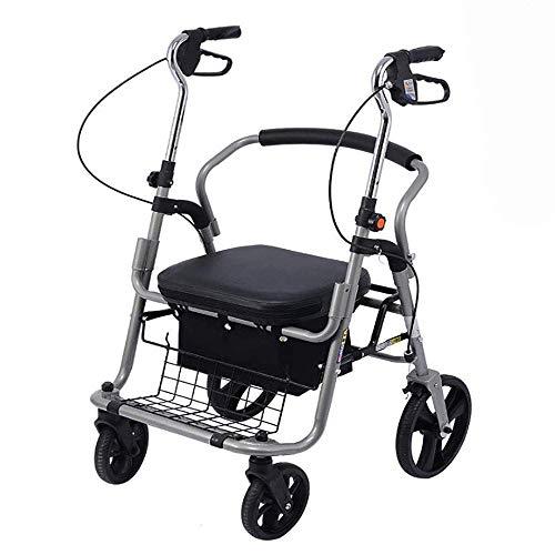 Halfeaid Rollatoren winkelwagen, inklapbaar, lichtgewicht rollator met vier wielen en gevoerde zitting, ergonomische handgrepen en boodschappenmand