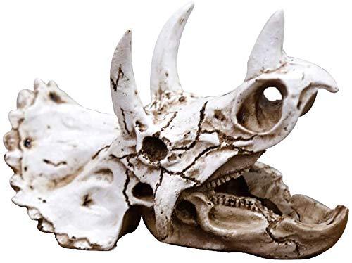 JILYEMOY Reptiles-Anfibios Habitat-Hideouts Cueva Acuario-Decoraciones - dinosaurio Triceratops imitación cráneo modelo para lagarto camaleón tortugas serpiente araña rana Gecko rezando