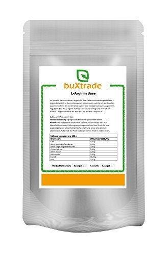 2 x 1 kg L-Arginin Base Pulver | reine Aminosäure | Hochdosiert | Nahrungsergänzungsmittel | Ohne Zusatz | Beliebt bei Sportlern 2 kg