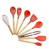 LCM Red de Silicona Utensilios de Cocina Conjunto de Cocina con Mango de Madera Cuchara Antiadherente Utensilios de Cocina Utensilios de Cocina Set (Color : Red 9pcs)