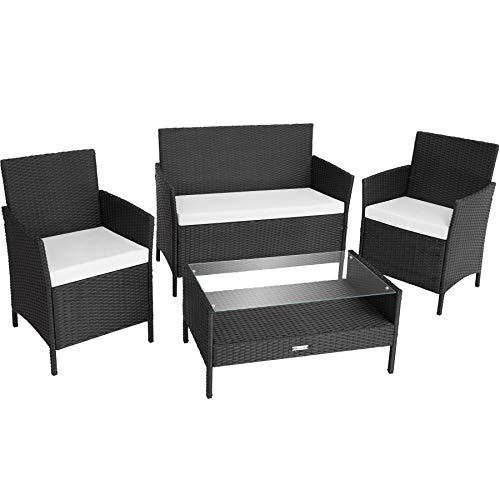 TecTake 800894 Polyrattan Sitzgruppe, Gartenmöbel Set mit Stühlen, Bank und Tisch, Lounge für Garten, Balkon und Terrasse, inkl. Sitzkissen (Schwarz | Nr. 403690)