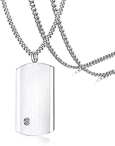 WYDSFWL Collares Moda Collar de identificación Simple Collares Pendientes de Perro Collar de joyería con 24 AAA Cubic Zirconia Curb Chain Collar de Regalo