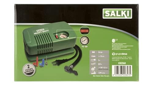 salki Compresor de Aire Heavy Duty-AC 230 SALKI - Bomba de Aire en Formato Mini con Salida para Casa de 230V, Compartimento para Boquillas Integrado, Uso Profesional, verde