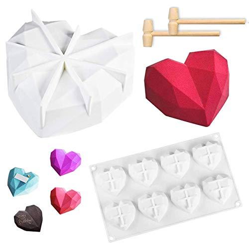3D Diamant Herzform Kuchenform, Antihaftbeschichtung Silikon Herzform Mousse Kuchenformen mit Schokoladen Dessert Backform und 2 Mini Holzhämmer für Schokolade, Brownie, Eis, Käsekuchen, Fondant