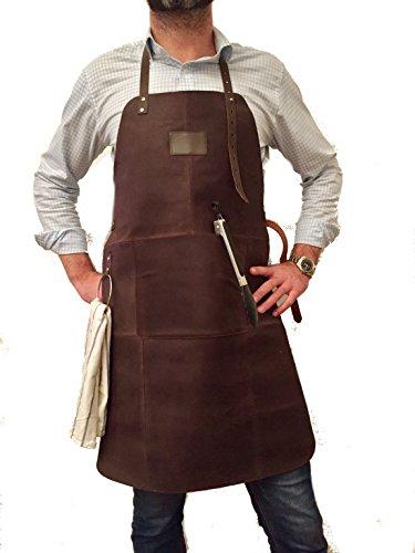 GRILLSCHÜRZE 100% echtes Leder, sehr edel, super Geschenk. Beste Qualität!!! Dunkelbraun Echtleder Arbeitsschürze, Schweißerschürze, Kellner Schürze, Leder 57x82cm 1,5 mm