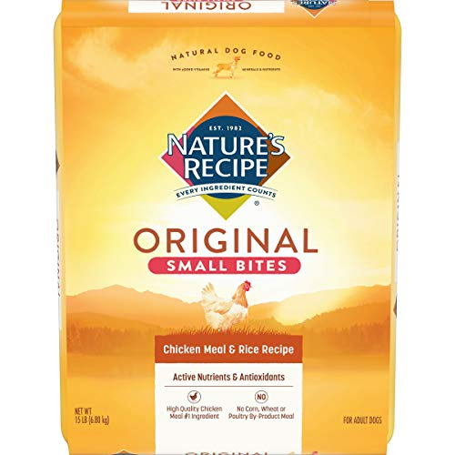 Nature's Recipe Small Bites Dry Dog Food, Chicken Meal & Rice Recipe, 15 Pounds