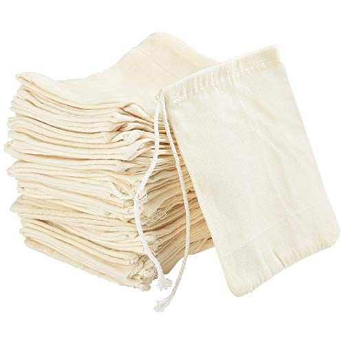 Irich 50 Pack Cotton Muslin Bags, Reusable Mesh Bags with Drawstring - 100% Cotton White for Store Spices, Crafts, Soap or Slag Filtration, Soaking Medicinal Liquor