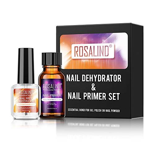 ROSALIND 2PCS Profesional Natural Deshidratador de uñas eimprimación de Uñas Secado Rápido al aire 15ml con UV Esmaltes Semipermanentes Poly Nail Gel Set