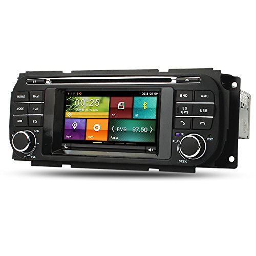 Maxtrons Car DVD Player GPS Navigation Stereo in Dash Radio for Jeep Grand Cherokee Liberty Wrangler Dodge Ram Dakota Durango Caravan Chrysler Voyager PT Crousie 300M Sebring Free Reverse Camera