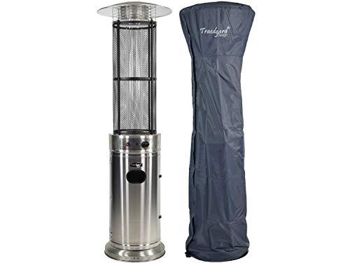Traedgard Gas Heizstrahler California Edelstahl | 180 cm | Heizpilz mit 9,5 kW | Stufenlose Regulierung | inkl. Schutzhülle Gasschlauch und Druckminderer