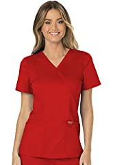 "Women's V-Neck, Short Sleeve Top Front Princess Seams, Front Shoulder Yoke, Mock Wrap Back Length: 26"" Patch Pockets, Interior Pocket"