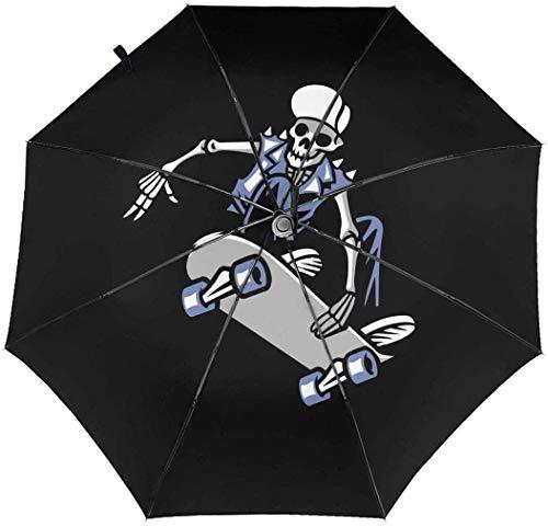 Regenschirm / Sonnenschirm, Totenkopf, Punk-Ride-Skateboard, automatisch, dreifach faltbar, mit Aufdruck innen