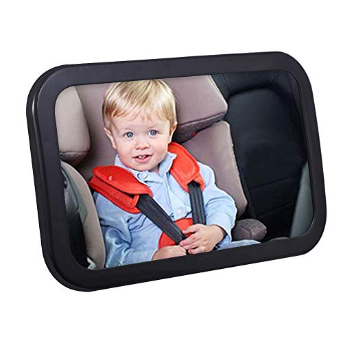 IDEALHOUSE Baby Car Mirror, 360 Degree Adjustable Safety Car Seat Mirror for Rear Facing Infant with Wide Crystal Clear View, Shatterproof, Fully Assembled, Crash Tested and Certified