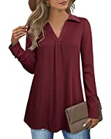 Womens Tunic Tops,Vivilli Ladies Christmas tunic tops Tunic Plus Size Long Sleeve Flowy Swing Blouses Fall V Neck Loose A Line Dressy Tunic Sweatshirts For Leggingss Pullover Dark Red M
