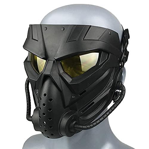 Wwman Paintball Airsoft Maske für den Außenbereich, verschleißfeste Taktische CS Cosplay Vollgesichtsmaske mit Antibeschlaggläsern, für Erwachsene Jugendliche Halloween (WWZL3-BK-Y)