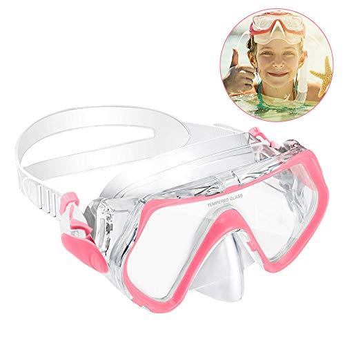 KOROSTRO Taucherbrille Kinder, Schnorchelbrille Schwimmbrille Kindertaucherbrillen Tauchmaske, Wasserdicht, Lecksicher, UV Schutz, Verstellbares Silikonband, Geeignet für 4-10 Jahre - Pink