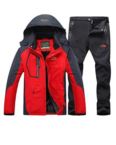 LiangZhu Herren Skijacke Segeljacke Snowboarjacke Warme Outdoorjacke Wasserdicht Atmungsaktiv Top + Hose Zweiteilig Rot Schwarz L