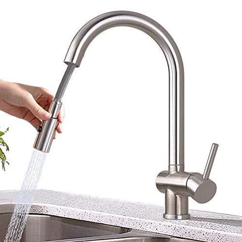 ONECE Küchenarmatur mit ausziehbar Brause Wasserhahn Küche hochdruck Spültischarmatur aus Edelstahl gebürstet, Armatur Mischbatterie für Küche
