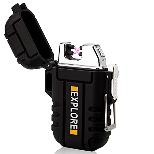 Waterproof Lighter Outdoor Windproof Lighter Dual Arc Lighter Electric Lighters USB Rechargeable-Flameless-Plasma Cool Lighters for Camping,Hiking,Adventure,Survival Tactical Gear (Black)