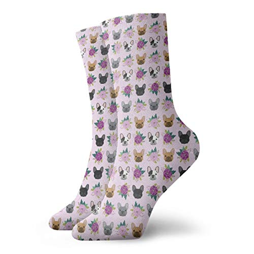 Men and Women Crew Socks Breathable Athletic Cushioned Crew Socks for Walking, Outdoor, Trekking Soccer Socks French Bulldog Frenchie Florals Pink Crew Socks