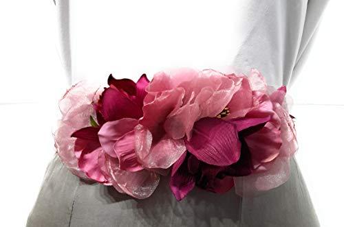 BRANDELIA Cinturones de Flores para Vestidos de Fiesta Mujer Cinturones Elásticos Mujer con Flores Artificiales, Cinta Rafia Fucsia