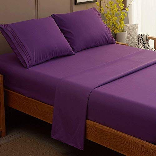 SONORO KATE Bed Sheet Set Super Soft Microfiber 1800 Thread Count Luxury Egyptian Sheets Fit 18 - 24 Inch Deep Pocket Mattress Wrinkle and Hypoallergenic-4 Piece (Purple, Queen)