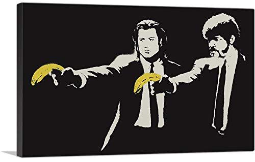 Banksy Bilder Leinwand Pulp Fiction Banana Graffiti Street Art Leinwandbild Fertig Auf Keilrahmen Kunstdrucke Wohnzimmer Wanddekoration Deko XXL (30x40cm(11.8x15.7inch))
