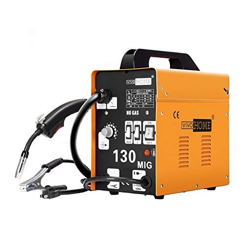VIVOHOME Portable Flux Core Wire No Gas MIG 130 Welder Machine 110V Yellow (Renewed)