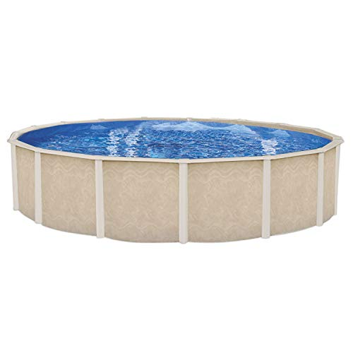 Embassy Pool Co Fiesta Key 12 Foot x 52 Inch Round Hard Sided Steel Frame Swimming Pool Package with Liner, Filter, Pump, Ladder, and Skimmer, Beige