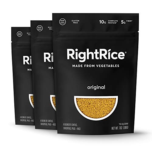 RightRice - Original (7oz. Pack of 3) - Made from Vegetables - High Protein, Vegan, non GMO, Gluten Free