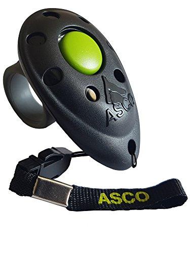 ASCO Premium Clicker, Finger Clicker für Clickertraining, Hunde Katzen Pferde Profi Clicker, Hundetraining Klicker schwarz AC01F