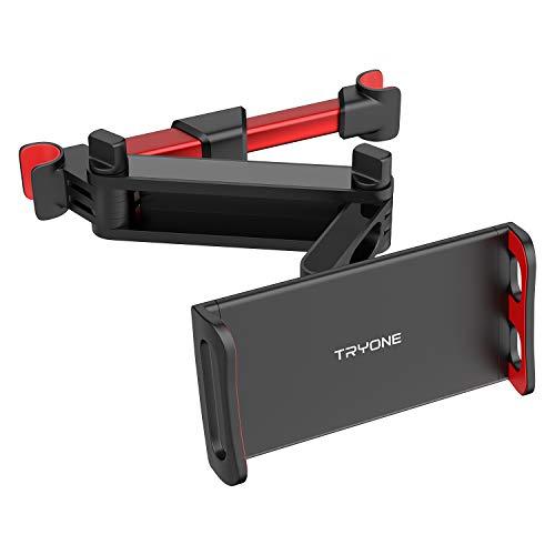Tryone Supporto Tablet Poggiatesta Auto, estensibile supporto per tablet per sedile d'auto per iPad/Samsung Galaxy Tab/Amazon Kindle Fire HD/Nintendo Switch/Altri ecc di 4,7-10,5 pollici (Rosso)