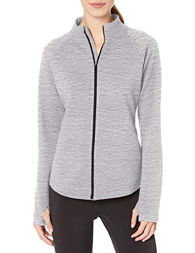 Amazon Essentials Damen Fleece Lined Full-zip Mockneck Jacket Fleecejacke, Hellgrau Spacedye, L