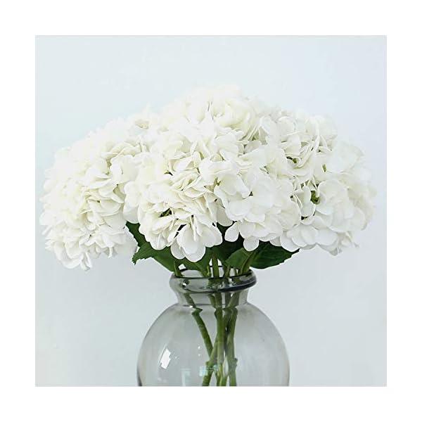 FagusHome 4 Piezas Hortensia Artificiales de Flores Artificiales con Tallos Flores Falsas para Decoración (Amarillo)