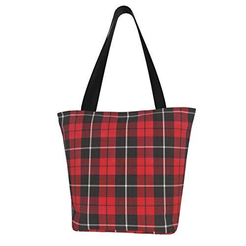 Personalisierte Leinen-Tragetasche, Weihnachts-Motiv, rot, schwarz, weiß, traditionell, waschbar, Handtasche, Umhängetasche, Einkaufstasche für Frauen
