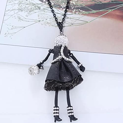 Chenfeng Collares Mujer Joyas Collar con Colgante de Diamantes de imitación para muñeca, Bonito Vestido de Cuero para Mujer, Collares llamativos de Cristal para niñas, joyería de Moda Regalo