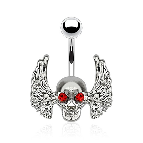 316L Surgical Steel Winged Skull with Red CZ Crystal Eyes Belly Button Ring