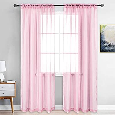 KEQIAOSUOCAI 2 Pieces Baby Pink Girls Room Sheer Curtains Rod Pocket Sheer Panels Drapes for Bedroom Living Room 52Wx84L Set of 2