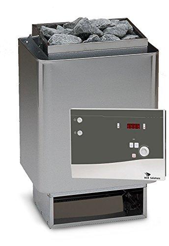 Well Solutions Saunaset 34A Sauna Ofen 6 kW aus Edelstahl – Made in Germany inkl. Steuerung K4 mit 2 Fühlersystem – Ofenfühler und Bankfühler, Saunasteine