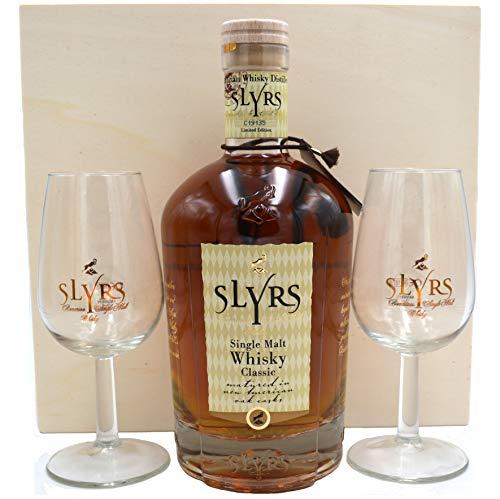 Slyrs Kerpalt Bavarian Single Malt Whisky 0,7l in Holzkiste und 2 Gläsern der Destillerie Lantenhammer