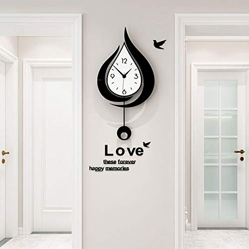 FF&XX Elegante Cuarzo Reloj De Pared con Péndulo para El Hogar,Metacrilato Gota De Agua Silencioso Reloj De Pared,Grande Moderno Reloj De Pared De Péndulo-A 40x78cm(16x31inch)