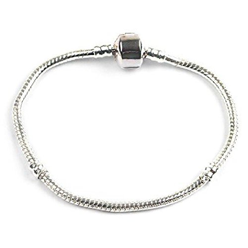Bling Rocks Liberty Charms Silver Snap Clasp Bracelet for Slide On/Off Charms/Beads Teenager 17cm (Other with Gift Box and Velvet Pouch.