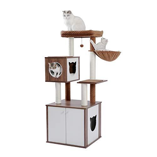 [Amazonブランド] Umi(ウミ) - 木製キャットタワー 猫タワー 猫用キャビネット 猫トイレ収納ボックス 多頭飼い 爪とぎ 据え置きタイプ 天然サイザル麻紐 猫ハウス ハンモック - 高さ150cm ブラウン
